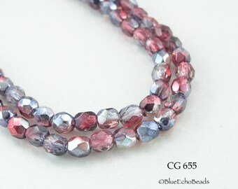 4mm Czech Faceted Glass Beads Fire Polished Two Tone Pink Parfait (CG 655) 50 pcs BlueEchoBeads