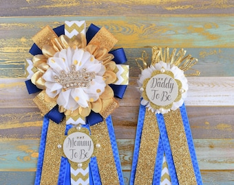 Royal Gold Prince Corsage Pin, Royal Gold Corsage Pin, Mommy and Daddy to Be Corsage, Royal, White & Gold Royal Prince Baby Shower, Custom