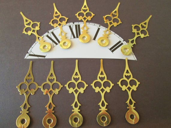 "10  3"" Vintage Solid Brass Serpentine Clock Hands for your Clock Projects - Jewelry - Steampunk Art - Crafts & Etc....."