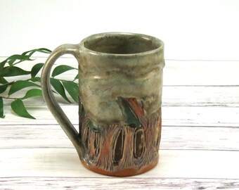 Woodland Pottery Mug Arts and Crafts Mission Style Large Handmade Coffee Mug Tea Cup, Faux Bois Rustic Decor, 746