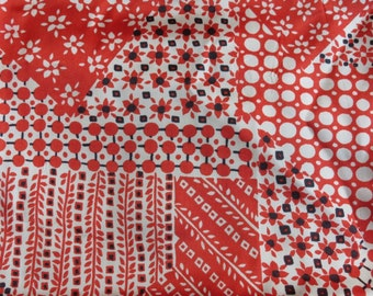 Vintage Red Rayon Dress Fabric 4 Yards