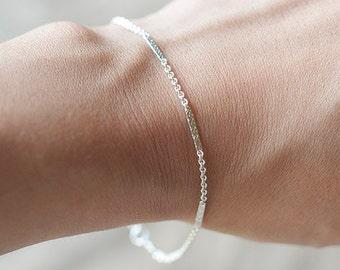 Delicate Silver Bracelet, Sterling Silver/GoldFilled Layering Bracelet, Thin and feminine, Minimum Jewelry, everyday jewelry - Fifi LaBonge-