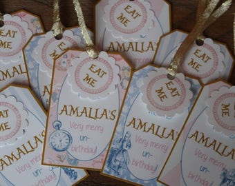 Vintage Alice in Wonderland Themed Party *** CUSTOMIZABLE *** Favor Tags - Gift Tags - Thank You Tags - Sold in Lots of 8