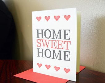 Home Sweet Home - Cross stitch inspired Letterpress Card