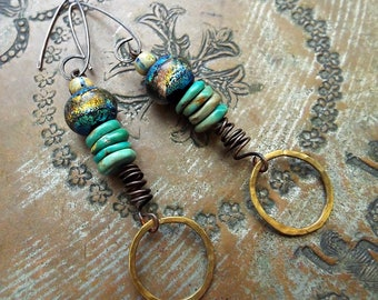 Basha Bead and Turquoise Mixed Metals Earrings Sterling Copper Bronze