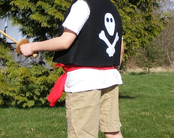Kids Pirate Costume Dress-up Birthday 4 Piece Felt Costume