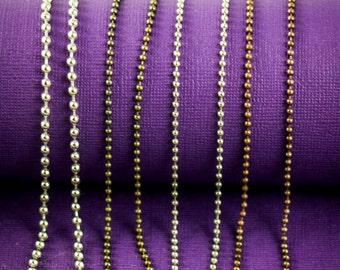 Ball Chain Beaded Bronze Chain Silver Ball Copper Chain • Jewelry Making Supplies Jewelry Chain • 16 inch 18 Cut Chain Long
