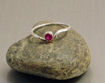 Ruby Ring Silver, Stacking Ring, Birthstone Jewelry, Faceted Stone, Wave Ring, Curve Ring, July Birthstone