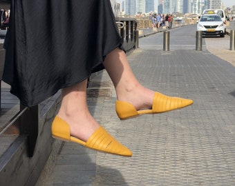 Women's Shoes, Leather Shoes, Yellow Shoes, Flat Shoes, Slip On Shoes, Women's Sandals, Comfortable Shoes, Pointed Flats, Minimalist Shoes