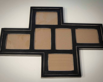 """Collage Picture Frame - MULTI 6 Opening 5x7 """"Windmill"""" distressed collage picture frame with 2) 5x7's in portrait and 4) 5x7's in landscape"""