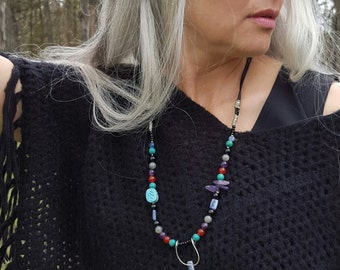 Double leather natural bead necklace : crystal , turquoise , labradorite , amethyst, and more