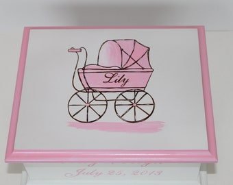 Baby Keepsake Box Pink Baby Carriage Baby Memory Box personalized baby girl shower gift hand painted