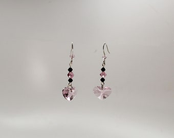 Pink and black Swarovski crystal heart earrings