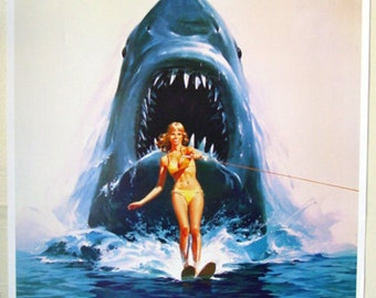 JAWS Poster Wall Art Decor Vintage JAWS Movie Poster  JAWS 2  Shark    25 x 35