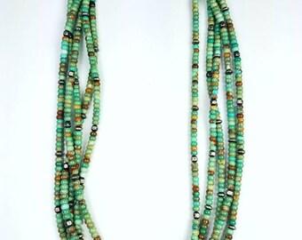 Native American Navajo handmade hand cut Turquoise bead choker, necklace
