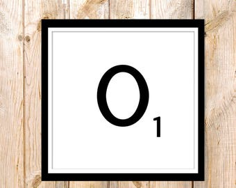 DIY Wall Art, Letter O-Personalized Word Art, Instant Download, Printable Letter, Scrabble Wall Art, Alphabet Art, Downloadable Image, Print
