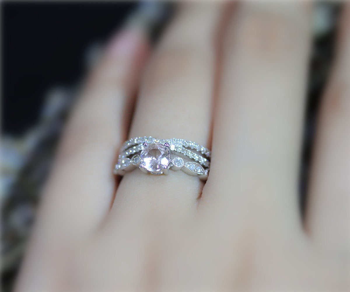 zoom - Morganite Wedding Ring Set