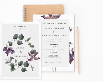 Modern Laurel Wedding Suite - vintage florals // Minimalist Wedding Invitation  // Wedding Foliage // Botanical wedding // Greenery