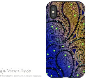 Purple Paisley - iPhone X Tough Case - Dual Layer Protection for Apple iPhone 10 - Artistic iPhone X Case - Midnight Astral Paisley