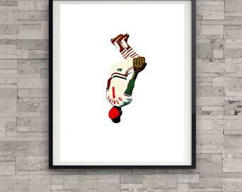 Ozzie Smith backflip The Wizard St Louis Cardinals Baseball Custom Print Gift for Man Cave or Office Saint Louis Busch Stadium Shortstop