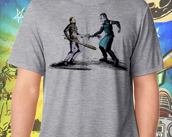 Game of Thrones / Walking Dead / The Night King Ends Negan / Men's Gray Performance T-Shirt