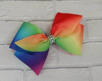 "Large 8"" rainbow JoJo Siwa style boutique hair bow with Rhinestones Signature Keeper Dance Moms"