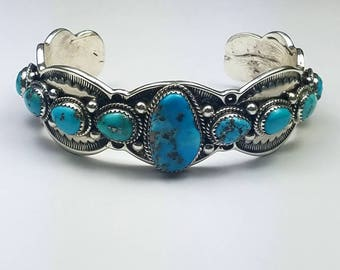 Native American Navajo handmade Sterling Silver natural high grade Kingman Turquoise cuff bracelet
