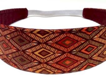 Womens Headband, Headband for Women, Adult Headband,  Reversible Fabric Headband - Brown, Olive Green, Rust Geometric Aztec Print - AUBREE