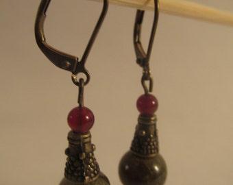 2009- Earrings Green Garnet and Carnelian