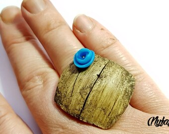 Driftwood ears and blue flower ring