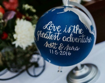 """Custom Wedding Globe – Perfect for Wedding Guestbook or Centerpiece – Custom Colors and Quote or Names – Hand Painted – 8"""" Diameter"""