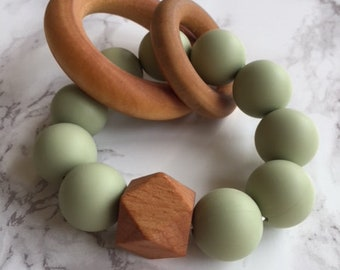Lint Silicone and Wood Teether
