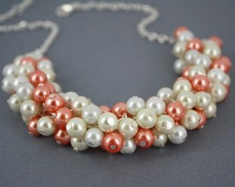 Coral Ivory White Pearl Necklace Coral Cluster Necklace Coral Necklace Bridesmaid Gift for Her Destination Wedding Jewelry Maid of Honor