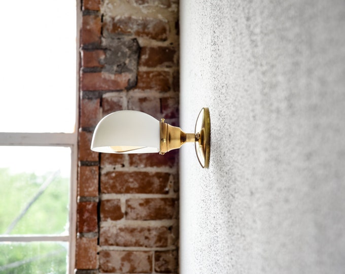 Gold Brass Wall Sconce White Opal Shade Bathroom Vanity Century Industrial Modern Light UL Listed Sconces T