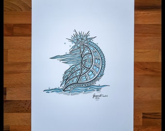 Original Abstract Pen and Ink Drawing on Paper // The Blue Sails // House Warming Gift // Ready to Frame Art