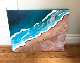 Acrylic Painting Ocean waves beach starfish 16X20 canvas