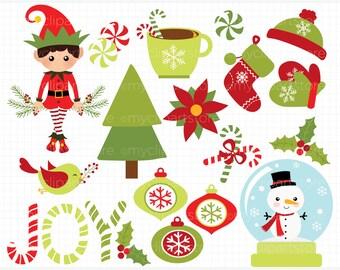 Clipart - Christmas Joy / Elf, Snowman, Snowglobe, Winter - Digital Clip Art (Instant Download)