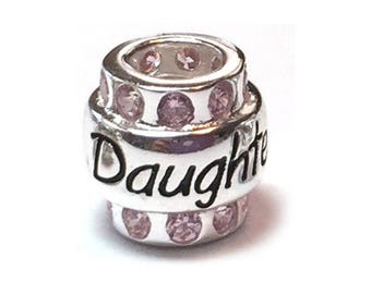 Daughter Sterling Silver European Bead Pink Cubic Zirconia