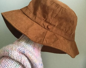 Vintage golden brown super soft bucket hat 90s vintage hippie hat