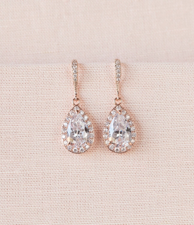 Crystal Bridal earrings Rose Gold Wedding jewelry Swarovski