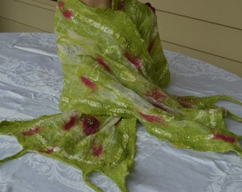 Nuno Scarf/Wrap - OOAK - Green/Silk Roses/ Beads