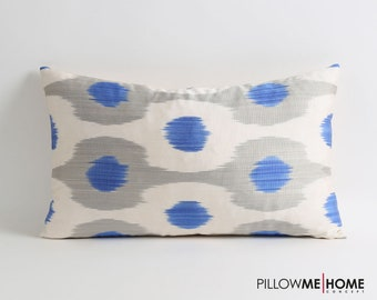 Blue ikat pillow cover // silk pillow cover // handwoven & hand-dyed pillow // 12x20 decorative lumbar pillow