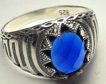 925 Sterling Silver  Men's Ring with Totally Handmade Precious Real Sapphire