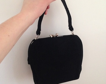 Vintage 50s Black Rockabilly Purse - Pin Up Day Evening Bag - Detailed Embroidered Pattern - Change Purse Inside