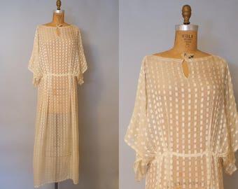 Belle de Jour 1930s Dress / Sheer Silk Dress / Vintage 1930s Dress / 30s Silk Dress