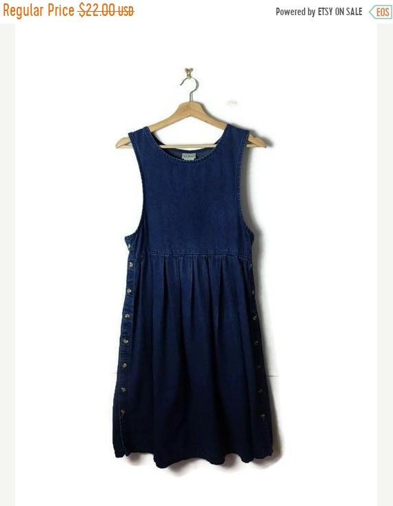 On Sale Vintage L.L.Bean Blue Denim Sleeveless Casual  Dress  From 90's by Etsy