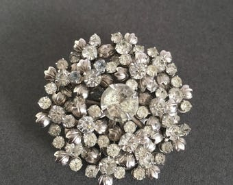 Art Deco Brooch Pin Clear Paste Floral Cluster Vintage