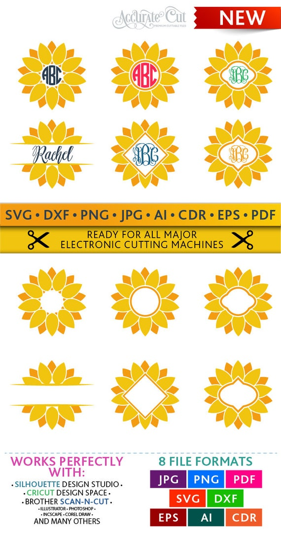 Download Sunflower Svg Sunflower Monogram Frames Svg Sunflower Cut