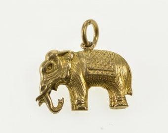 10K Ornate Elaborate 3D Elephant Sacred Animal Charm/Pendant Yellow Gold