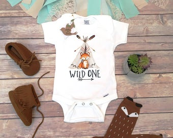 First Birthday Boy, Wild One Onesie®, Fox Birthday Shirt, Woodland Birthday, First Birthday Outfit Boy,Woodland Fox Birthday Party One Shirt